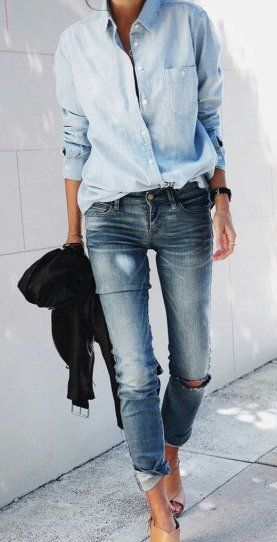 #spring #outfits Blue Shirt + Ripped Bleached Denim Jeans