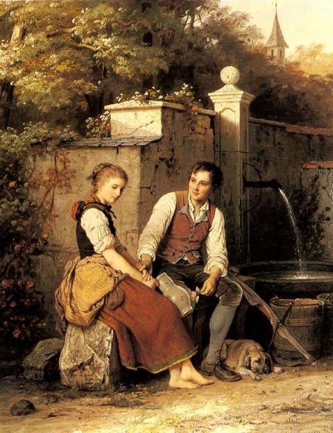 At the Well - Johann Georg Meyer von Bremen – 1872 - 53.3 x 66 cm