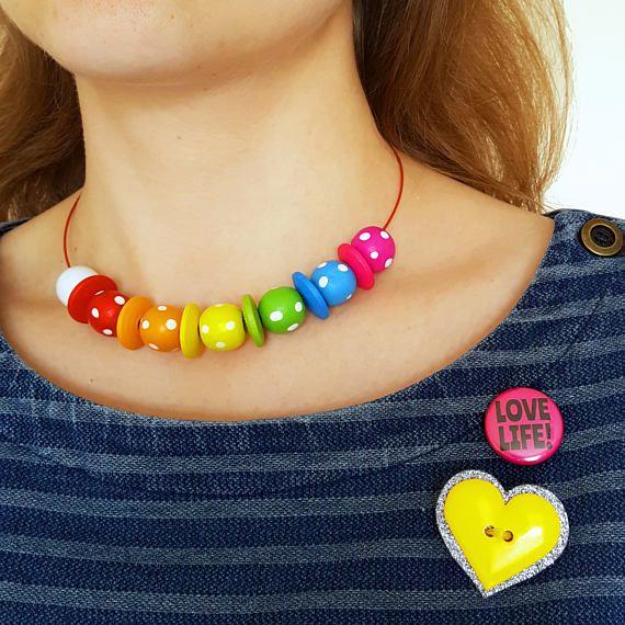Rainbow Necklace  Rainbow Bead Choker Necklace  Spotty