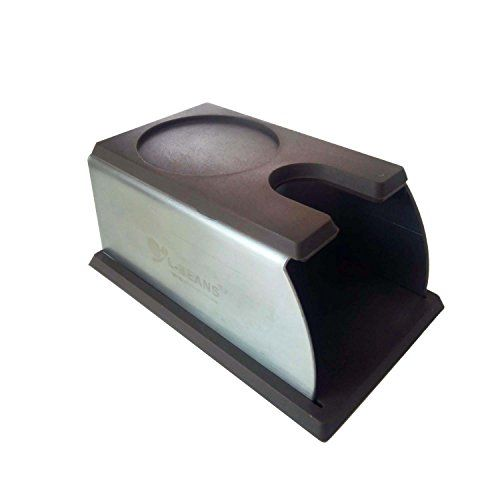 SMKF Coffee Tamper Stand, TAMPING STAND Sturdy Stainless Steel Tamping Stand for Coffee Machine and Heavily Padded Sturdy Coffee Tamper Stand and Coffee Tamper Storage Base(Brown)