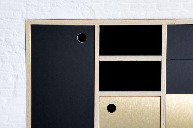 Atelier Antipode office credenza in plywood with forbo desktop furniture linoleum en gold brushed laminate