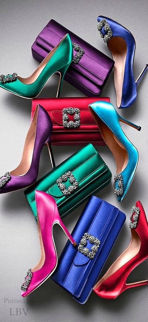 The Manolo Blahnik Hangisi collection ~ perfect for evening and holiday affairs. Would love to have a pair in each colour! Alas, they are WAY out of my price range.