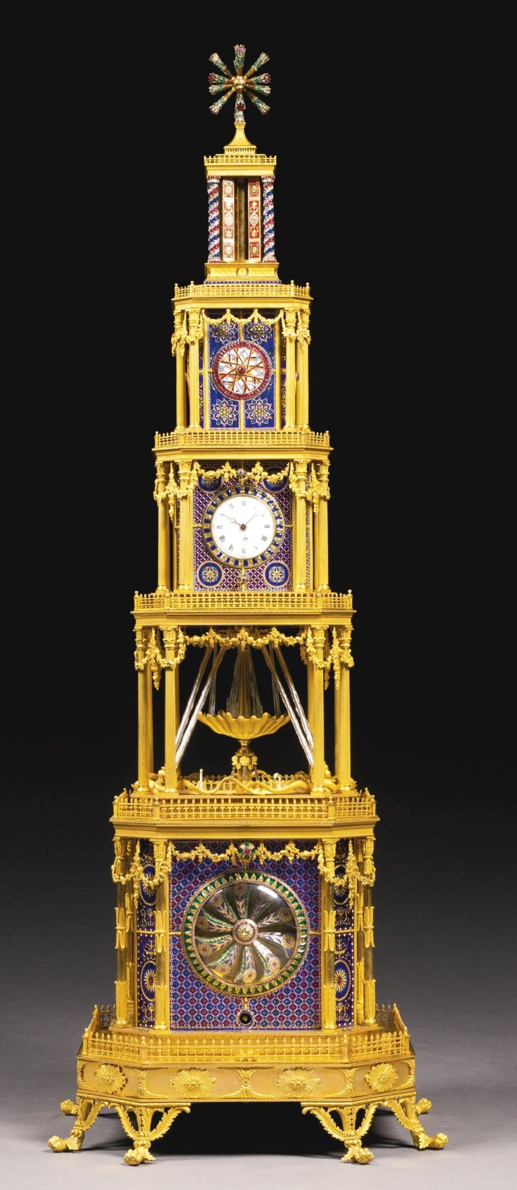 A George III ormolu, enamel, and paste-set musical automation quarter striking tower clock for the Chinese market – London, c.1790.