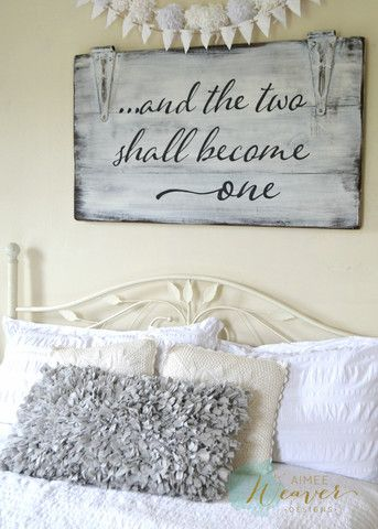 """""""And the two shall become one"""" Wood Sign {customizable} - Aimee Weaver Designs, LLC"""