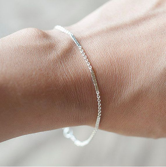 Delicate Silver Bracelet  Layering Bracelet Thin by Fifilabonge
