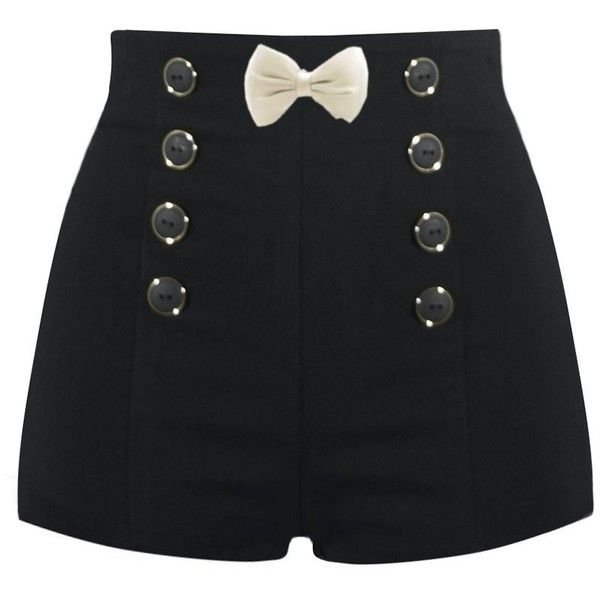 High Waisted Sailor Shorts ❤ liked on Polyvore featuring shorts, bottoms, pants, black, short, highwaist shorts, highwaisted shorts, sailor shorts, high rise shorts and high-waisted shorts