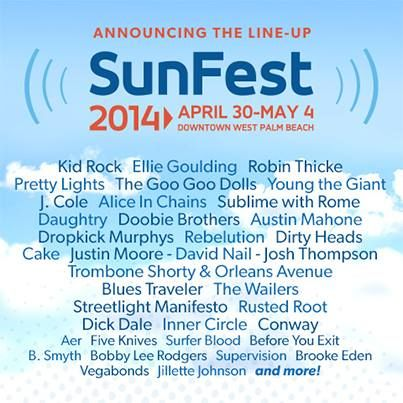 The official #SunFest2014 line-up has been announced! Check out the schedule here: http://ow.ly/u4aeO #ilovewpb