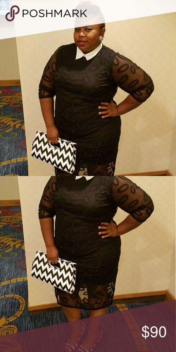 Black Tie Affair Dress Black lace white collar dress Eloquii Dresses Midi