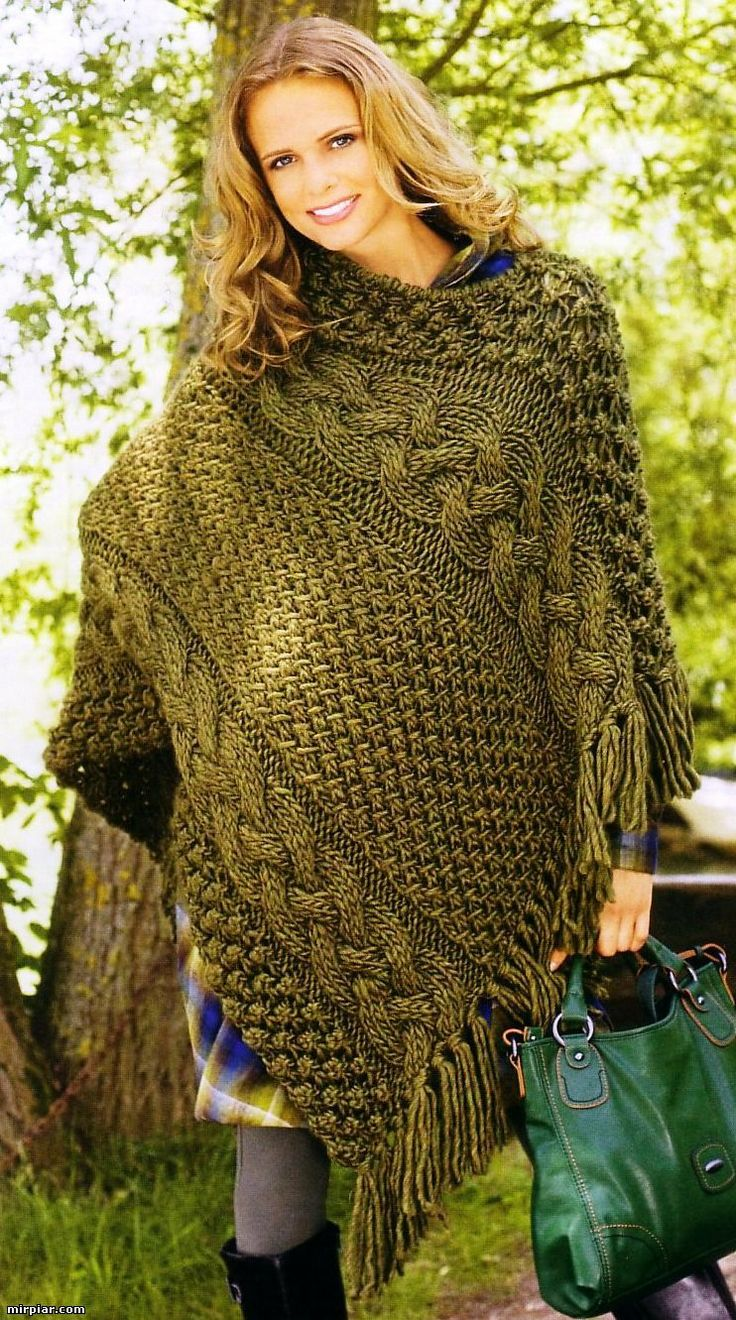 926 best Poncho images on Pinterest | Knit patterns, Knitting ideas ...