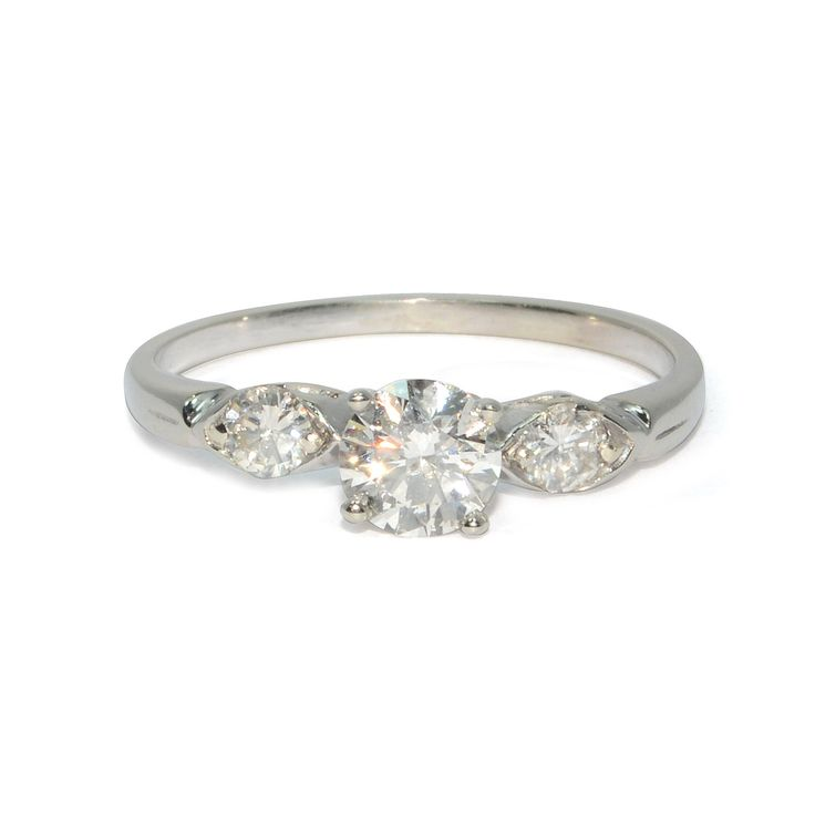 Vintage 1960s 14k White Gold Diamond Engagement Ring