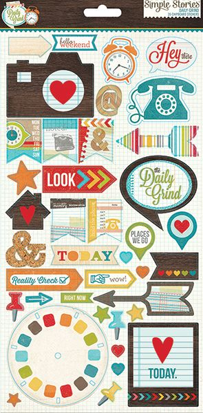 Simple Stories - Daily Grind Collection - Chipboard Stickers at Scrapbook.com
