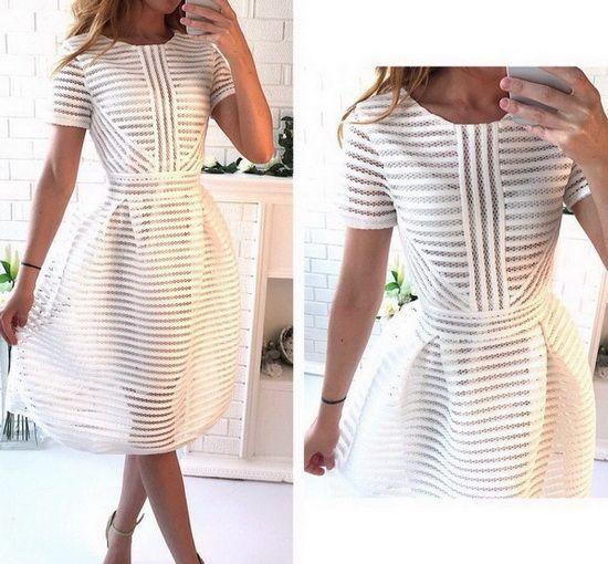 Платье в полоску неопреновое белое