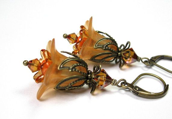 Vintage Style Lucite Flower Dangle Earrings, Pale Tangerine Orange, Apricot, Swarovski Crystal Jewelry, Antiqued Brass, For Her via Etsy