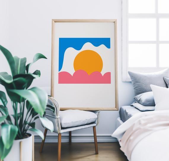 Sun Illustration Sun Wall Art Sun Print Le Soleil Art The Sun Poster Sun Art Print Space Art Americanposters Modern Art Wall Art
