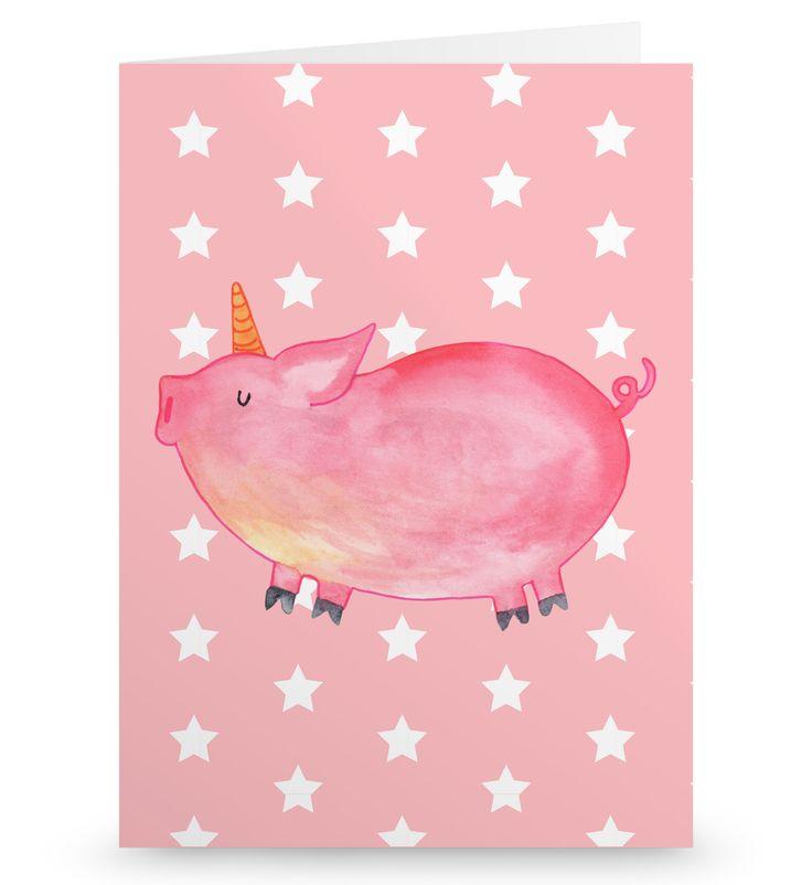 """Grußkarte Einhorn Schweinhorn aus Karton 300 Gramm  weiß - Das Original von Mr. & Mrs. Panda.  Die wunderschöne Grußkarte von Mr. & Mrs. Panda im Format Din Hochkant ist auf einem sehr hochwertigem Karton gedruckt. Der leichte Glanz der Klappkarte macht das Produkt sehr edel. Die Innenseite lässt sich mit deiner eigenen Botschaft beschriften.    Über unser Motiv Einhorn Schweinhorn  """"Du kannst alles werden, was du willst!"""" Diesen Spruch haben viele Kinder von ihren Eltern gesagt bekommen…"""