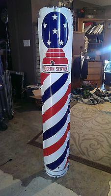 Barber Pole Modern Service Original Porcelain Sign