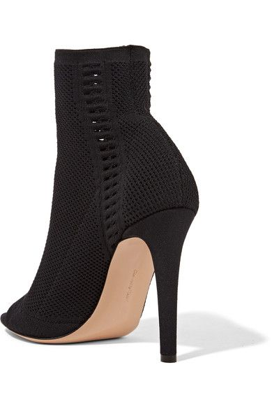 Gianvito Rossi - Vires Peep-toe Perforated Stretch-knit Ankle Boots - Black - IT