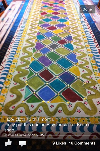 Beautiful floor cloth handpainted jewels 78 X 23 by nitajoanbunge, $360.00