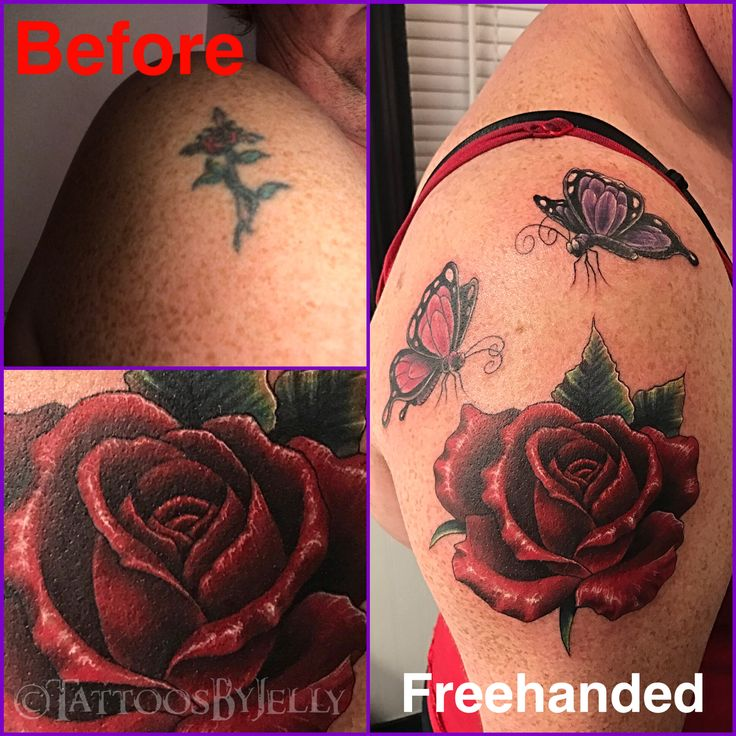Rose with Butterflies Cover Up (Custom Freehanded) • Right