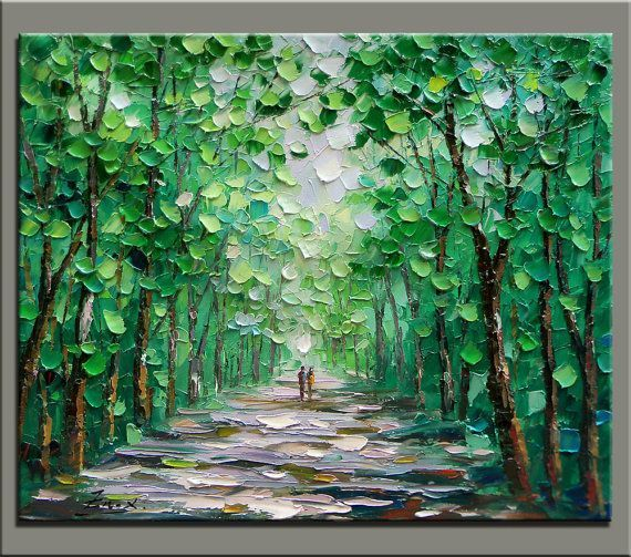 "Original oil painting,impasto oil on canvas,hand painted,huge size 36""x30"" palette knife painting forst landscape"