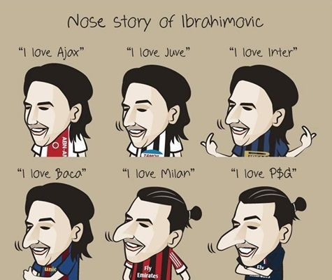 Im więcej kłamał tym większy stawał się nos • Oto zabawna historia nosa Zlatana Ibrahimovicia • Kocham Juve, Milan, Ajax • Zobacz >> #zlatan #ibrahimovic #football #soccer #sports #pilkanozna