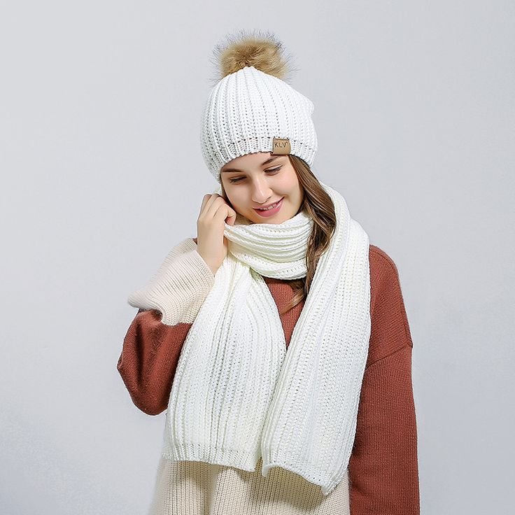 AliExpress.com Product - New Women's Winter Knitted Scarf Hat Set Winter Accessories 2 Pieces Thicker Hat Scarf 4colors