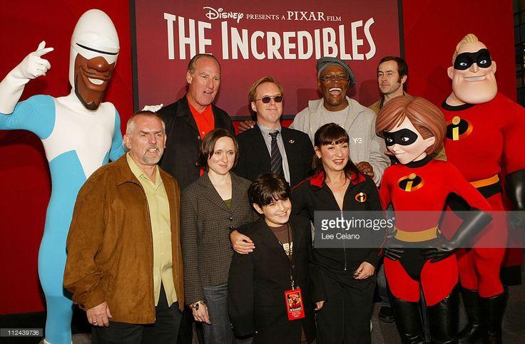 John Ratzenberger, Sarah Vowell, Spencer Fox, Elizabeth Pena, (back row) Craig T. Nelson, Brad Bird, writer/director, Samuel L. Jackson, Jason Lee and the Incredibles