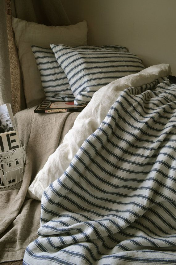 French Vintage inspired navy ticking linen quilt/ duvet/