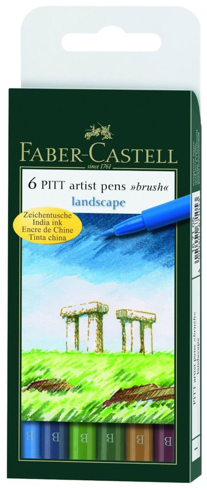 Faber Castell Pitt Artist Pens Landscape Colors Set 6 Markers Brush Tip   eBay