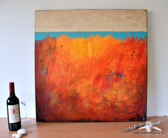 """Bridge 2"" - mixed media abstract landscape painting by NZ artist Renee Walden"