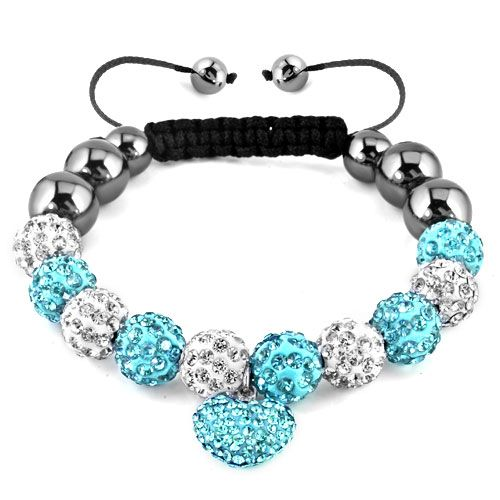 Pugster Love Heart Crystal Blue Black Shamballa Bracelet Disco Ball Beads Gifts | eBay