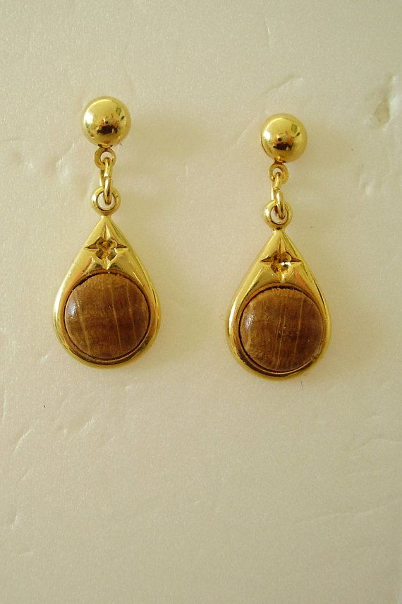 Earrings Polished Wood Teardrop Abstract Gold-tone Metal