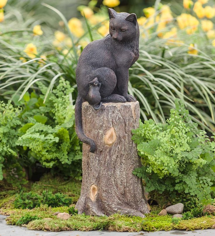 Beautiful Cat And Mouse On Stump Lawn Ornament Sculpture Statue Weatherproof Yard  Garden