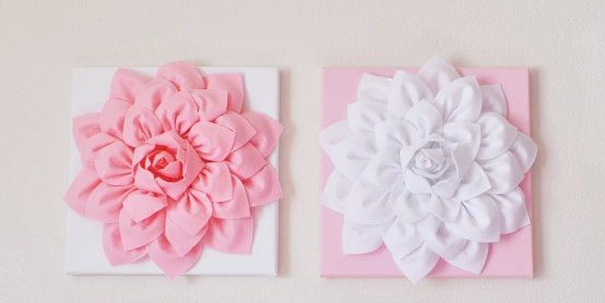 This one for the nursery... TWO Wall Hangings Light Pink Dahlia on White and White by bedbuggs, $66.00