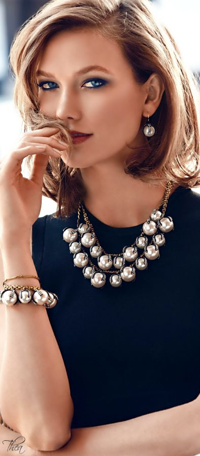 """Lulu Frost - Decade Simulated Pearl Statement Necklace. Love the """"pearls"""" against dark colors, especially black. Maybe not so large on the beads though..."""