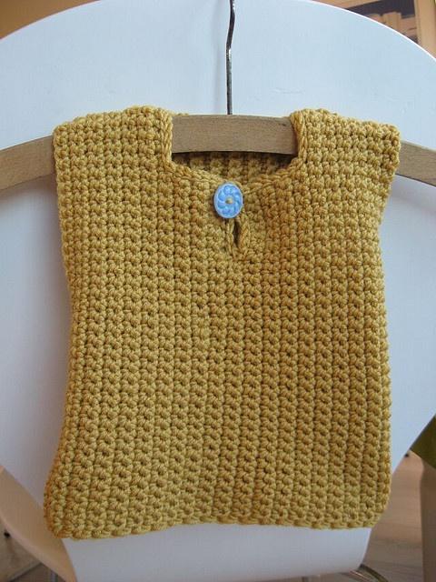 Crocheted baby vest