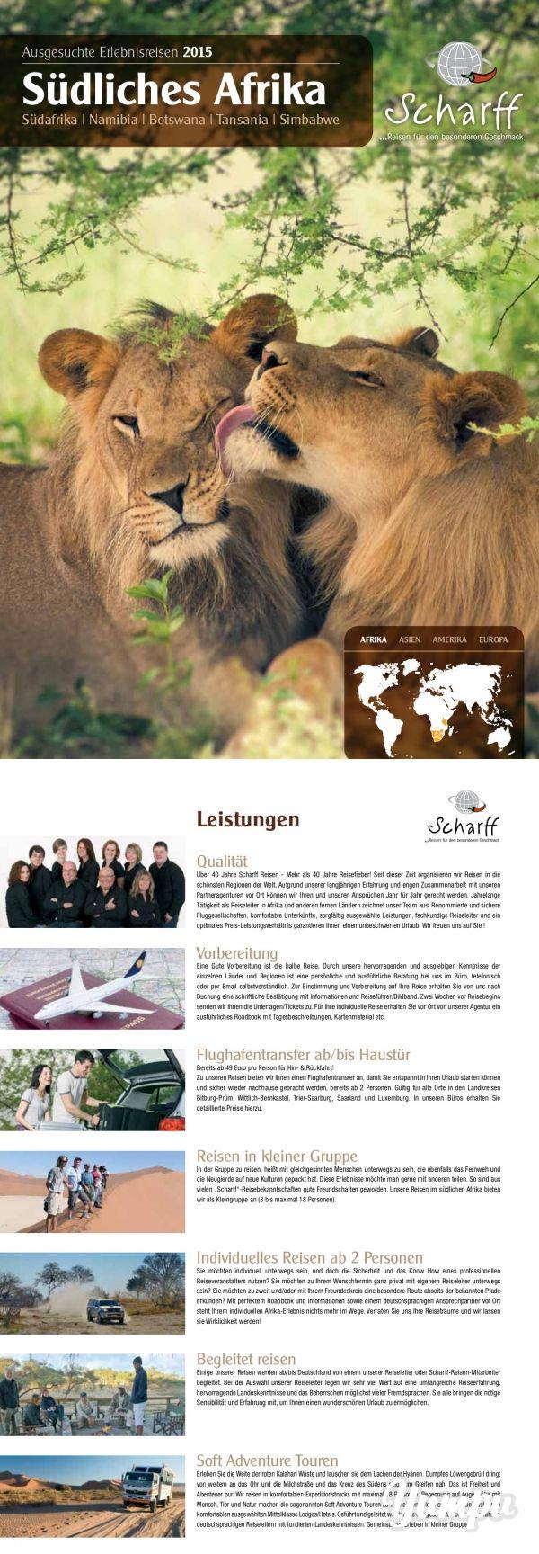 Scharff Reisen - Südliches Afrika 2015 - Magazine with 44 pages: Ausgesuchte Erlebnisreisen nach Südafrika, Namibia, Botswana, Tansania und Simbabwe