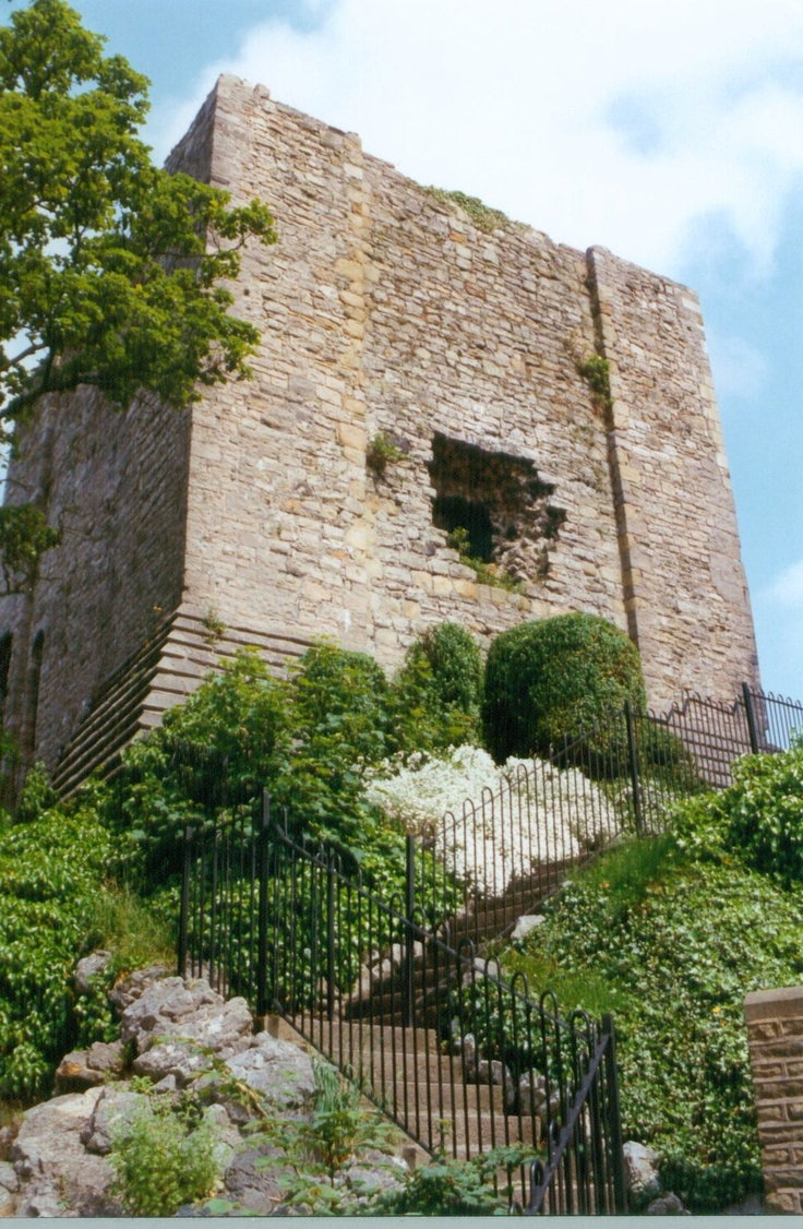 Clitheroe Castle keep. Legend has it that the hole was made when the Devil threw a boulder from Pendle Hill. Photograph Roy A Higgins