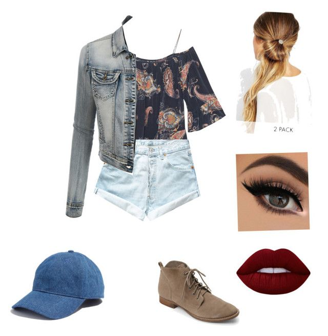 """""""Untitled #39"""" by nat2124 on Polyvore featuring Levi's, Sam Edelman, Johnny Loves Rosie, LE3NO, Lime Crime and Madewell"""