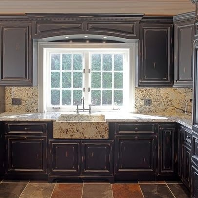 Distressed Black Kitchen Cabinets