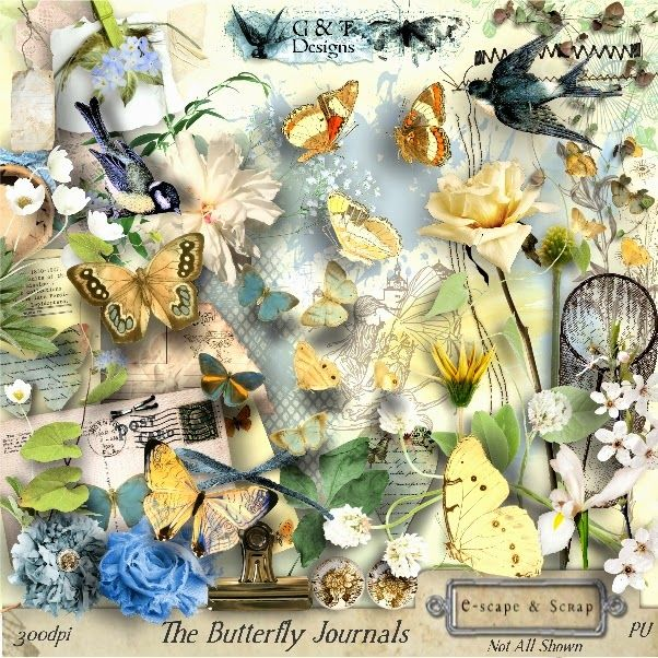 """Scrapbooking im Rollinest: """"THE BUTTERFLY JOURNALS"""" by G&T Designs at E-scape and Scrap"""