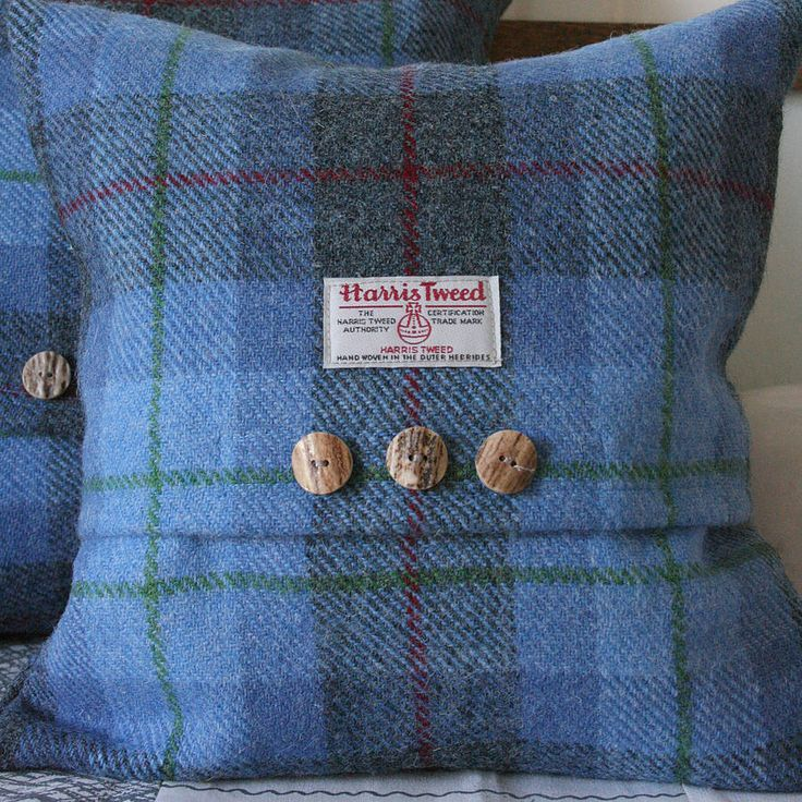 Bluebell Wood Harris Tweed Cushion.  Tweed and tartan soft furnishings are perfect for winter.
