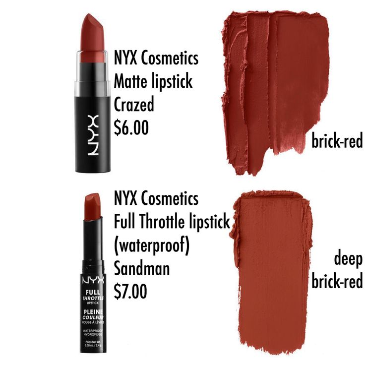 "TOTALLY OBSESSED with BRICK LIPSTICK! NYX Cosmetics Matte Lipstick ""CRAZED"" (brick red) and Full Throttle Lipstick [waterproof] ""SANDMAN"" (deep brick red)"