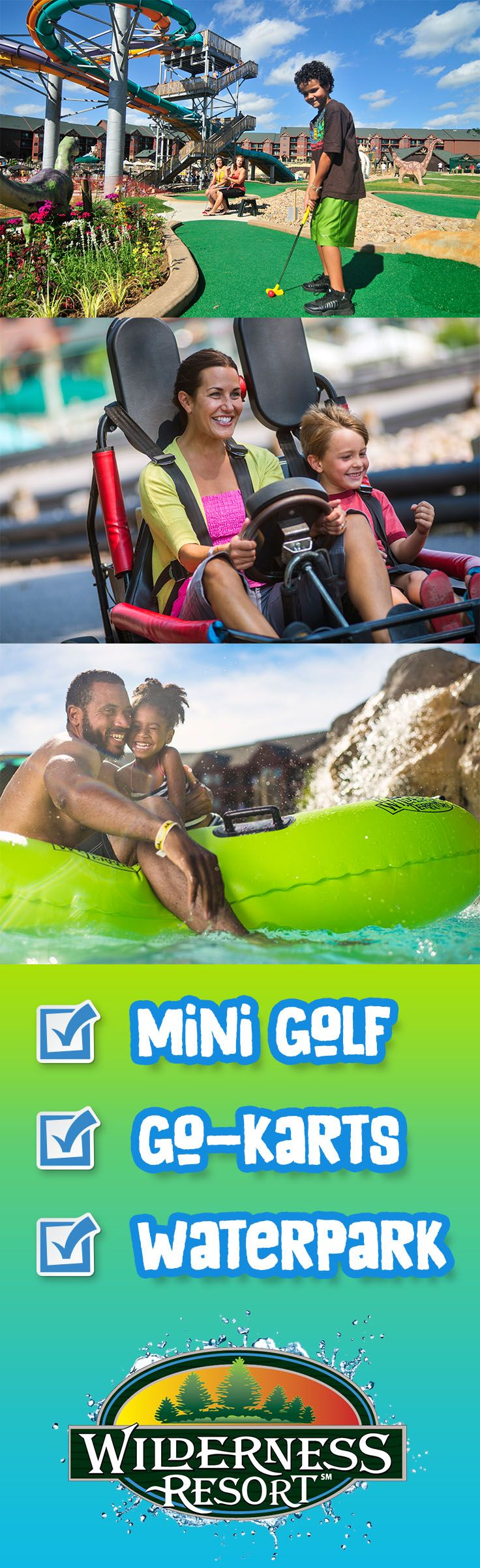 When you stay at Glacier Canyon Lodge, mini golf, go-karts, and the Lost World waterpark are right outside your door. Plus you have access to all of the amenities and waterparks across the resort. Wilderness Resort - America's Largest Waterpark Resort.