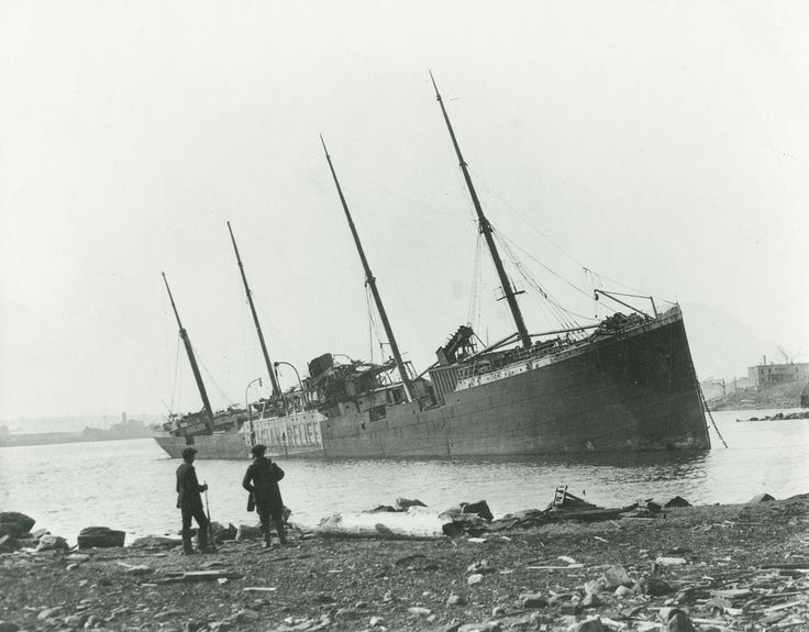 The SS Mont-Blanc. On Thursday morning, 6 December 1917, she entered Halifax Harbour in Nova Scotia, Canada laden with a full cargo of highly volatile explosives and was involved in a collision with the Norwegian ship, SS Imo. A fire aboard the French ship fire ignited her cargo of wet and dry picric acid, TNT and guncotton. The resultant Halifax Explosion levelled the Richmond District and killed approximately 2000 people.
