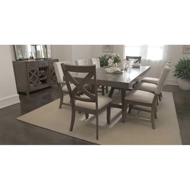 omaha gray rect table  4 upholstered chairs  dining room