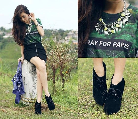 Pray For Paris Shirt, Wicked Drops Necklace, Wicked Drops Skirt, Balenciaga Bag | Pray for Paris (by Kryz Uy) | LOOKBOOK.nu