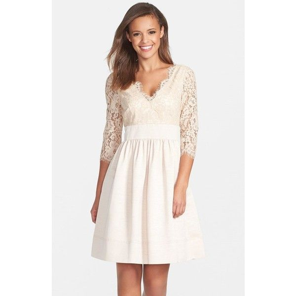Eliza J Lace & Faille Dress ($89) ❤ liked on Polyvore featuring dresses, beige, petite, eliza j dresses, beige lace dress, petite dresses, white cocktail dresses and lace cocktail dress