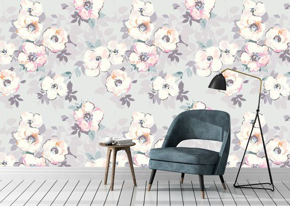 High Quality Removable Peel And Stick Self Adhesive Wallpaper Etsy Grey Floral Wallpaper Self Adhesive Wallpaper Peel And Stick Wallpaper