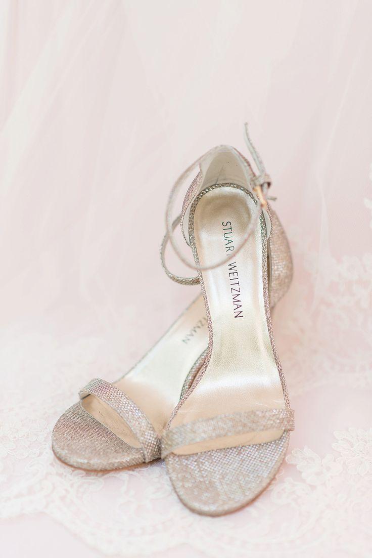 Elegant glittery bridal heeled sandals by Stuart Weitzman Photo byLimelight Photography (Eric & Jamie Photography)